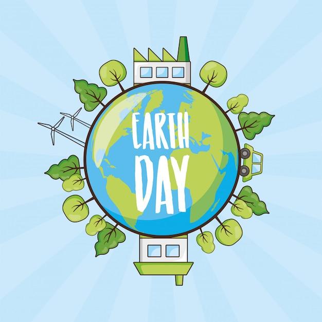 Tag der erde-karte, planet mit bäumen und gegenstände der sauberen energie, illustration Kostenlosen Vektoren