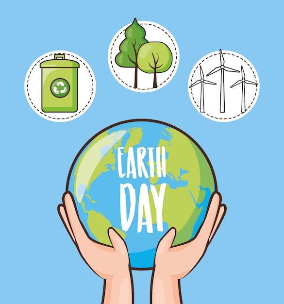 Tag der erde, satz ikonen mit papierkorb, bäume und planet, illustration Kostenlosen Vektoren