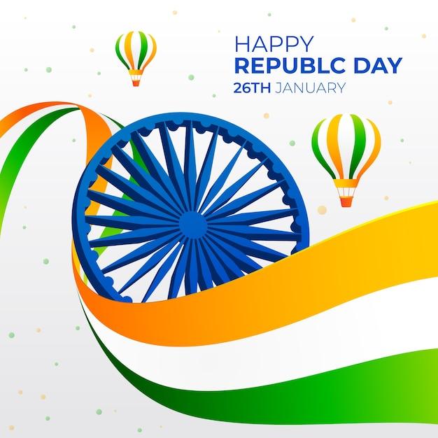 Tag der indischen republik im flachen design Kostenlosen Vektoren