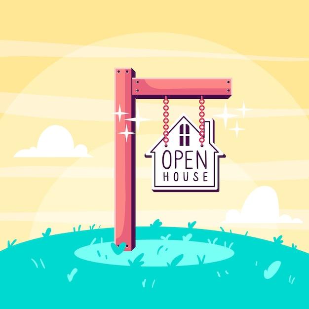 Tag der offenen tür zeichenkonzept Kostenlosen Vektoren