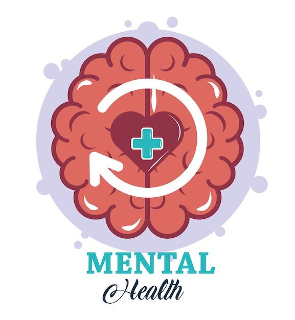 Tag der psychischen gesundheit, illustration der medizinischen behandlung der herzstörung des menschlichen gehirns Premium Vektoren