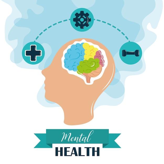 Tag der psychischen gesundheit, illustration der medizinischen behandlung des menschlichen kopfhirns der psychologie Premium Vektoren