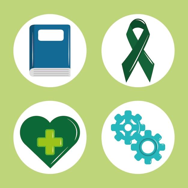 Tag der psychischen gesundheit, psychologie medizinische behandlung buch band herz zahnräder symbol set illustration Premium Vektoren