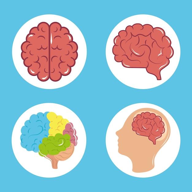 Tag der psychischen gesundheit, psychologie medizinische behandlung menschliches gehirnprofil, blockikonenillustration Premium Vektoren
