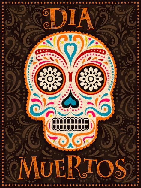 Tag der toten poster, bunt bemalte schädel mit blumenmuster, dia muertos ist der name des feiertags auf spanisch Premium Vektoren