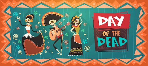 Tag der toten traditionellen mexikanischen halloween dia de los muertos urlaub party dekoration banner einladung Premium Vektoren