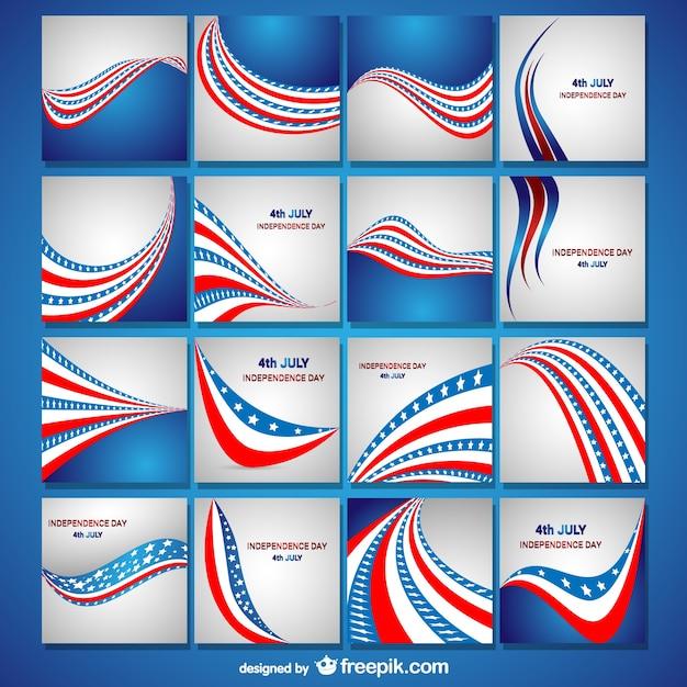 Tag der unabhängigkeit flagge karten sammlung Kostenlosen Vektoren