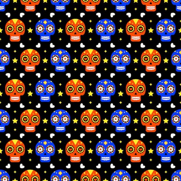 Tag des toten nahtlosen musters mit den bunten schädeln auf dunklem hintergrund. traditioneller mexikanischer halloween-entwurf für dia de los muertos-urlaubsparty. ornament aus mexiko. Premium Vektoren
