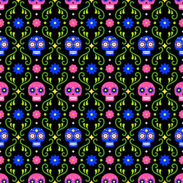 Tag des toten nahtlosen musters mit den bunten schädeln und den blumen auf dunklem hintergrund. traditioneller mexikanischer halloween-entwurf für dia de los muertos-urlaubsparty. ornament aus mexiko. Premium Vektoren