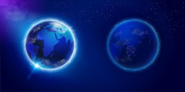 Tag und nacht auf dem planeten erde vom weltraum aus gesehen. verwendet in wissenschaft, werbung, lehrmedien. realistische datei. Premium Vektoren