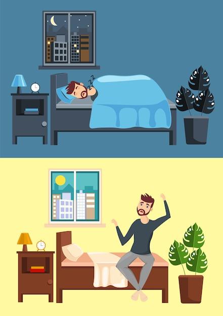 Tag und nacht innenraumkonzept. flacher stil der architektur. ein junger mann schläft und wacht in der morgenillustration auf Premium Vektoren