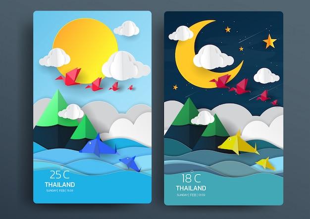 Tag und nacht naturlandschaft mit papierkunststil. Premium Vektoren