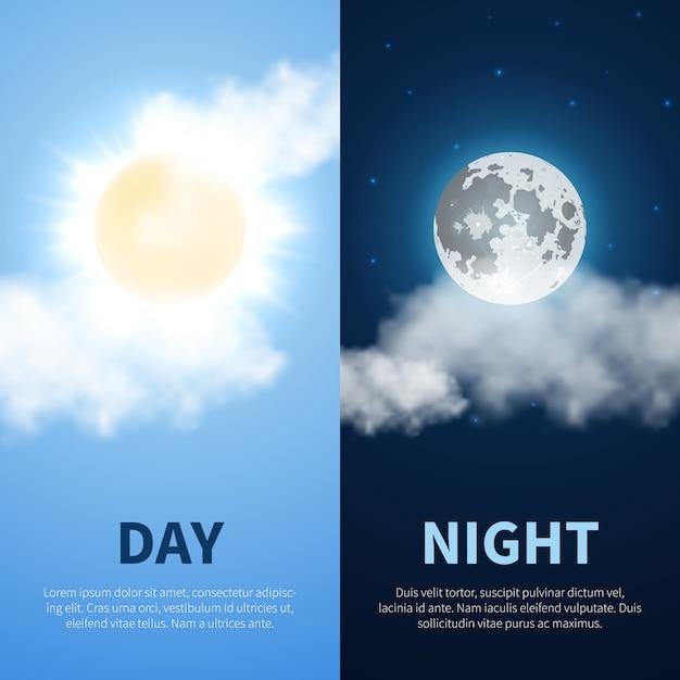 Tag und nacht zeit hintergrund mit sonne mond Premium Vektoren