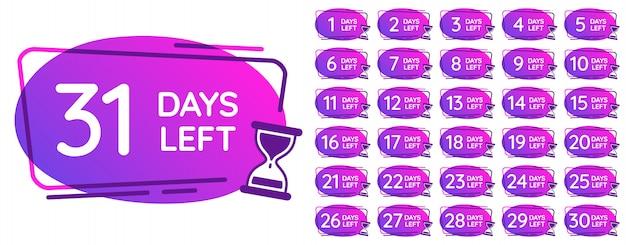 Tage übrig abzeichen. tageszahlen countdown-uhr, sanduhrzähler erinnerung und sanduhren zeiten abzeichen illustration gesetzt Premium Vektoren