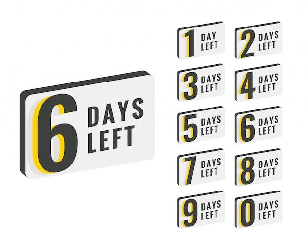 Tage verbleibende countdown-zeit banner design Kostenlosen Vektoren