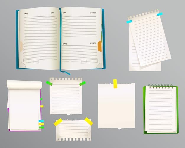 Tagebuch- und nachrichtenanmerkungen illustration von papierblättern für anmerkungen mit bookmarks Kostenlosen Vektoren