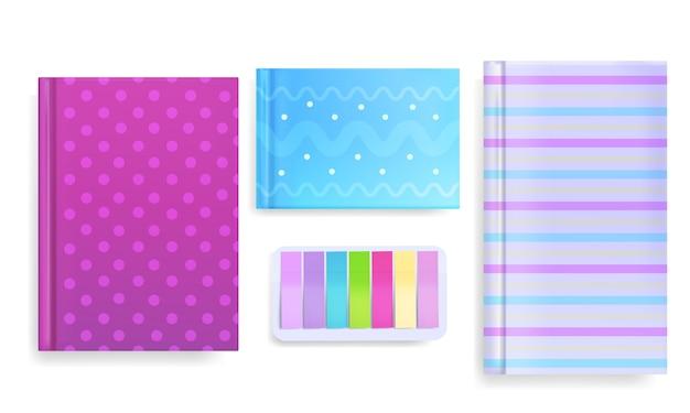Tagebuch und notiz merken illustration des buches oder des schreibheftes mit farbverzierung oder musterabdeckung. Kostenlosen Vektoren