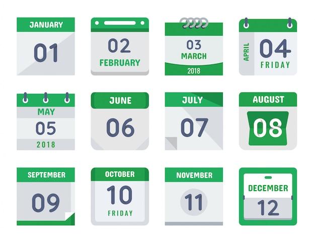 Tageskalender design collection set Premium Vektoren