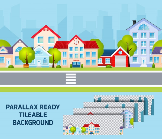 Tageslicht-stadtbildparallaxeffekt-hintergrund tileable Kostenlosen Vektoren