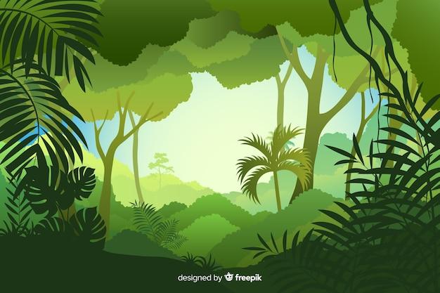Tageszeit der tropischen waldlandschaft Kostenlosen Vektoren