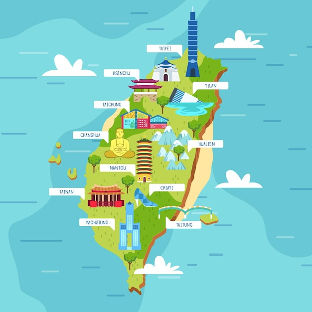 Taiwan karte mit landmarkenillustration Kostenlosen Vektoren