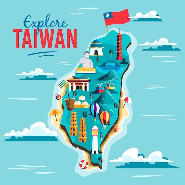 Taiwan karte mit sehenswürdigkeiten Kostenlosen Vektoren