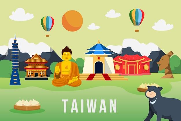 Taiwan wort mit sehenswürdigkeiten Kostenlosen Vektoren