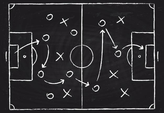 Taktisches schema des fußballspiels mit fußballspielern und strategiepfeilen. Premium Vektoren
