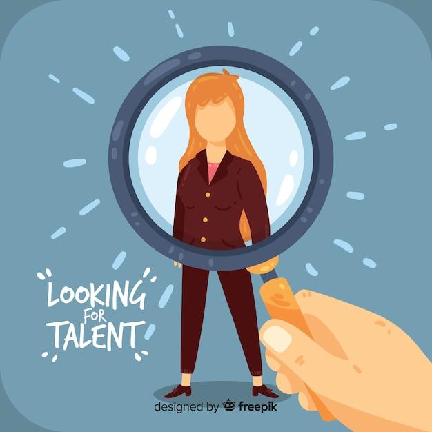 Talent suche flache frau hintergrund Kostenlosen Vektoren