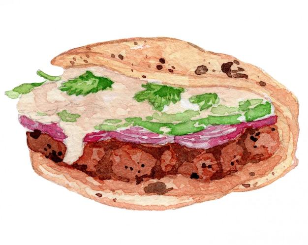 Tandoori-sandwich-aquarell-zeichnungs-illustration Premium Vektoren