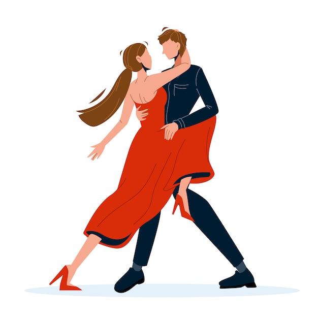 Tango dance dancing paar mann und frau Premium Vektoren