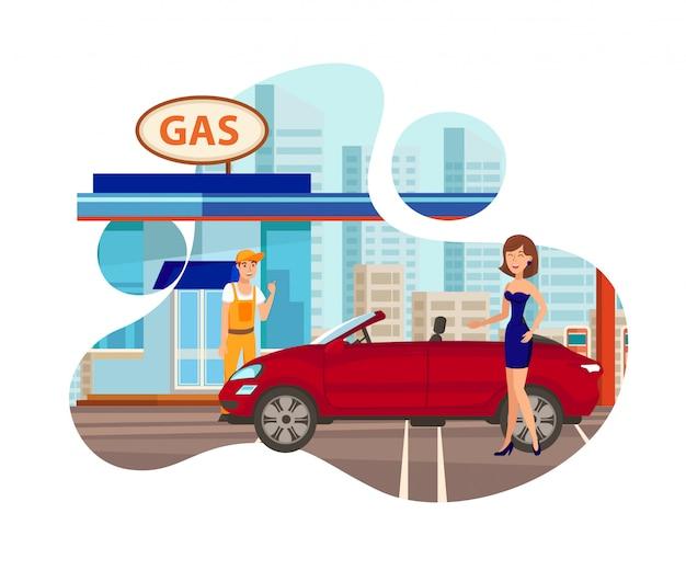 Tankstelle flach isoliert vektor-illustration Premium Vektoren
