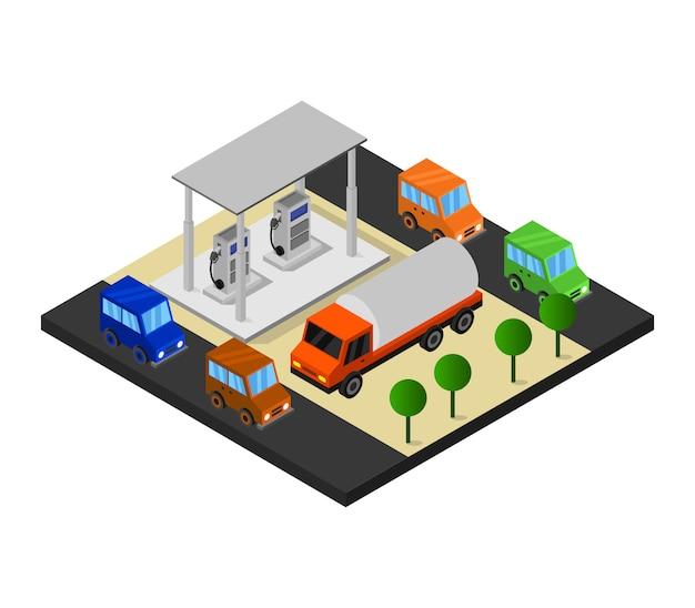 Tankstelle isometrisch Kostenlosen Vektoren