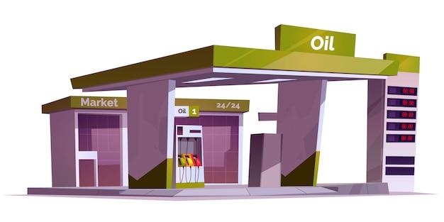 Tankstelle mit ölpumpe, markt- und preisanzeige. Kostenlosen Vektoren