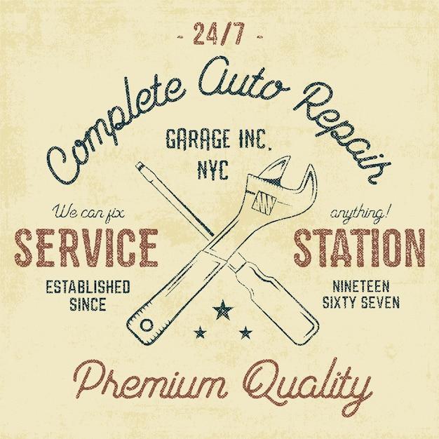Tankstelle vintage abzeichen Premium Vektoren