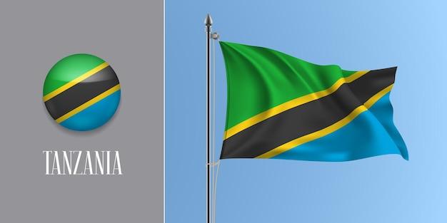 Tansania weht fahne auf fahnenmast und rund Premium Vektoren