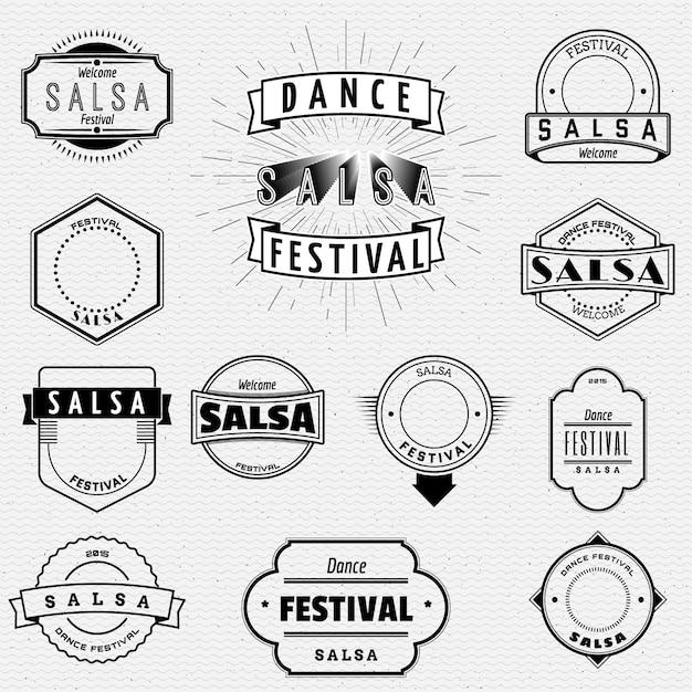 Tanz festival salsa abzeichen abzeichen und etiketten für jede verwendung Premium Vektoren