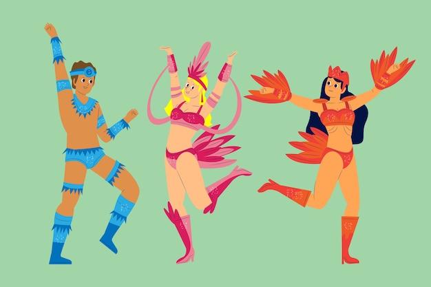 Tanzbewegungen brasilianische karnevalssammlung Kostenlosen Vektoren
