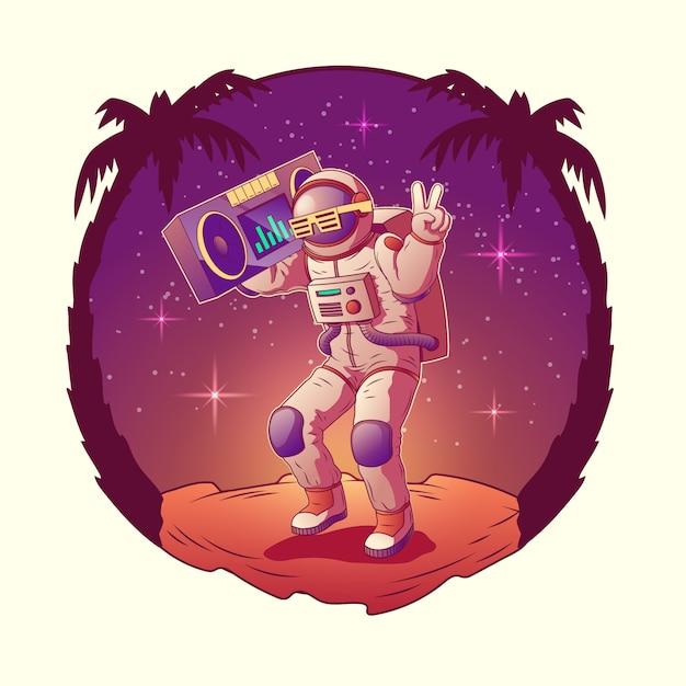 Tanzenastronauten- oder -raumfahrercharakter im raumanzug und in der sonnenbrille Kostenlosen Vektoren