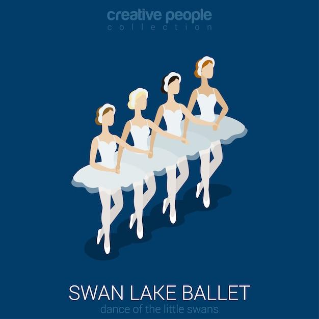 Tanzende ballerinas schwanenseeballett tanz der kleinen schwäne flach isometrisch. Kostenlosen Vektoren