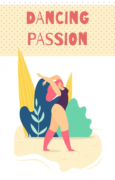 Tanzende leidenschaftliche frau motivieren kartenfahne Premium Vektoren