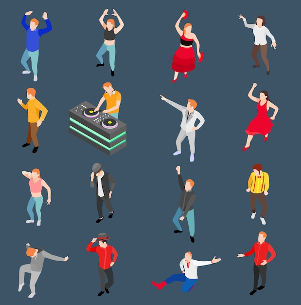 Tanzende menschen isometrische set Kostenlosen Vektoren