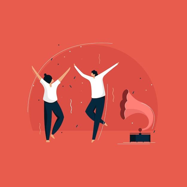 Tanzendes paar, paar genießt retro-party, tanzt am grammophon Premium Vektoren
