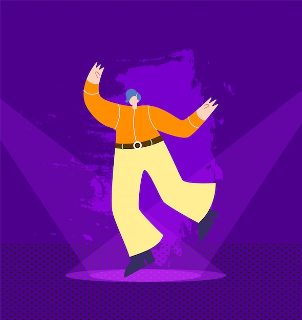 Tanzenmann in der cowboy-ausstattung auf nachtklub-stadium Premium Vektoren