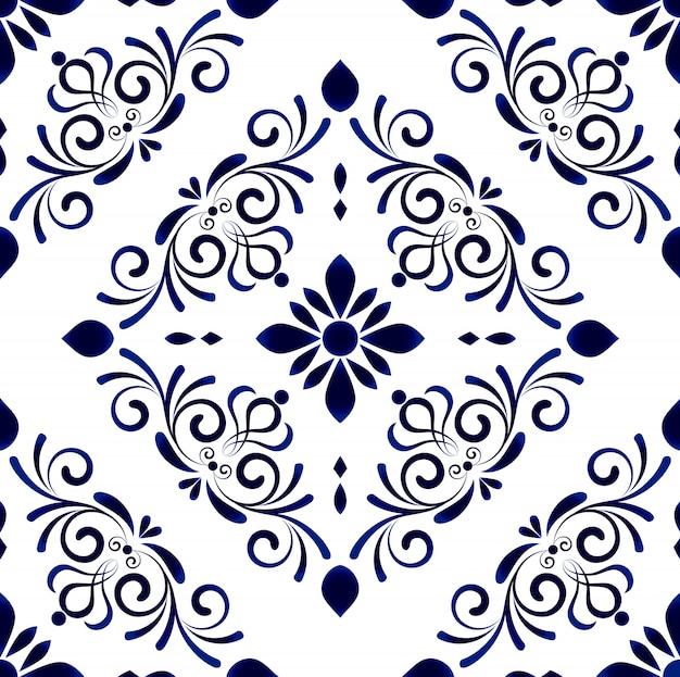 Tapezieren sie im nahtlosen mit blumenmuster des barockstil damastes, blumenverzierung, die blauen und weißen vasen, einfache dekorationskunst, keramikziegel Premium Vektoren