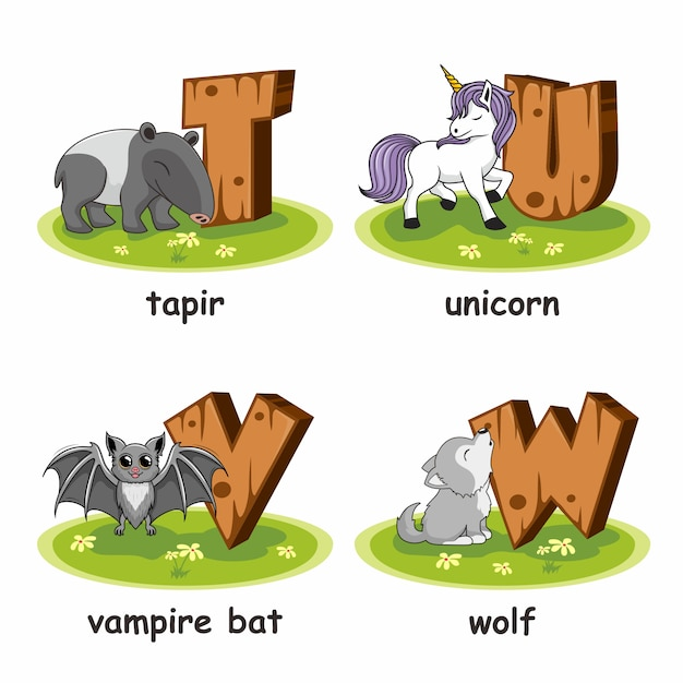 Tapir einhorn vampir fledermaus wolf holz alphabet tiere Premium Vektoren