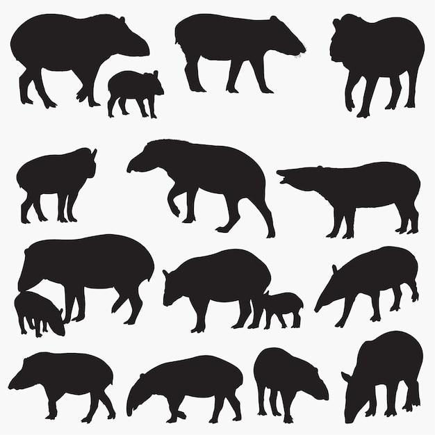 Tapir silhouetten festgelegt Premium Vektoren