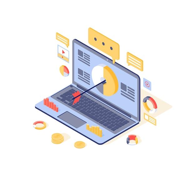 Targeting & content marketing illustration. medienpublikum, lead-generierungskonzept. inbound-marketing-strategie, werbekampagne, online-werbung Premium Vektoren