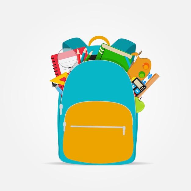 Tasche, rucksackikone mit schulzubehör Premium Vektoren