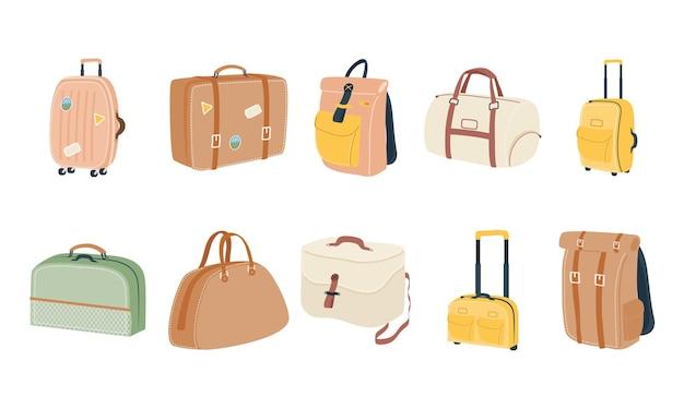 Taschen symbol sammlung design, gepäck gepäck tourismus reisethema vektor-illustration Premium Vektoren